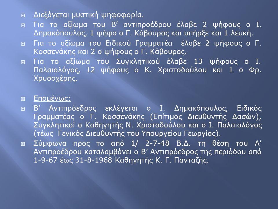  Διεξάγεται μυστική ψηφοφορία.  Για το αξίωμα του Β' αντιπροέδρου έλαβε 2 ψήφους ο Ι. Δημακόπουλος, 1 ψήφο ο Γ. Κάβουρας και υπήρξε και 1 λευκή.  Γ