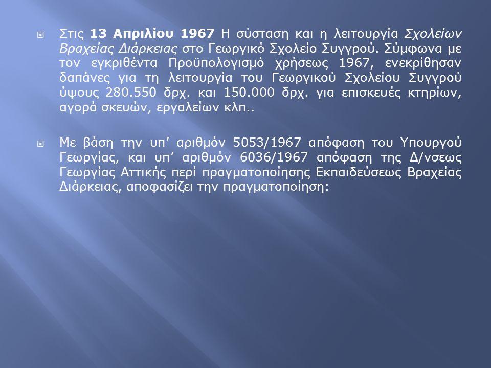  Στις 13 Απριλίου 1967 Η σύσταση και η λειτουργία Σχολείων Βραχείας Διάρκειας στο Γεωργικό Σχολείο Συγγρού. Σύμφωνα με τον εγκριθέντα Προϋπολογισμό χ