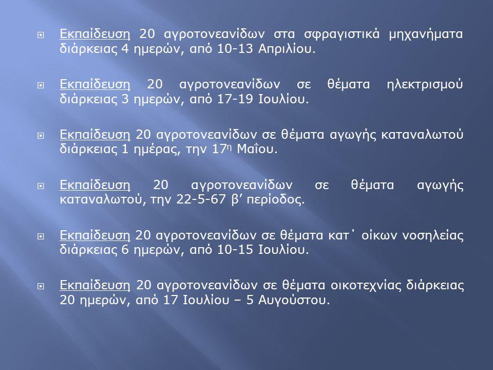  Εκπαίδευση 20 αγροτονεανίδων στα σφραγιστικά μηχανήματα διάρκειας 4 ημερών, από 10-13 Απριλίου.  Εκπαίδευση 20 αγροτονεανίδων σε θέματα ηλεκτρισμού