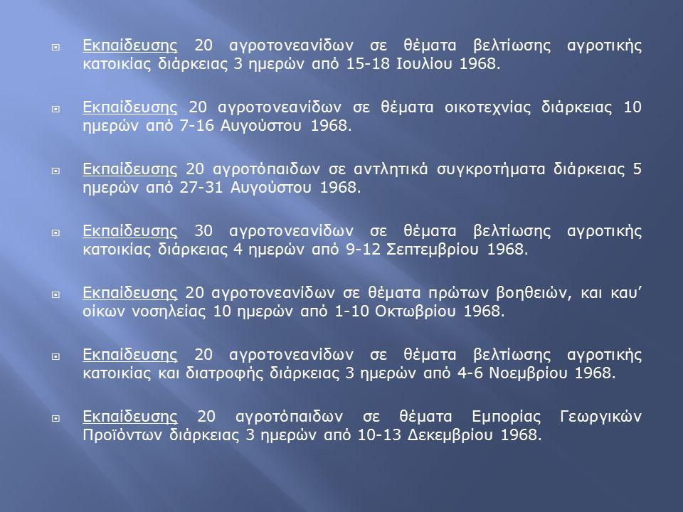 Εκπαίδευσης 20 αγροτονεανίδων σε θέματα βελτίωσης αγροτικής κατοικίας διάρκειας 3 ημερών από 15-18 Ιουλίου 1968.  Εκπαίδευσης 20 αγροτονεανίδων σε