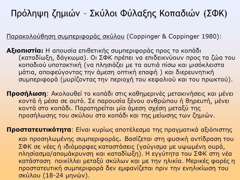 Παρακολούθηση συμπεριφοράς σκύλου (Coppinger & Coppinger 1980): Αξιοπιστία: Η απουσία επιθετικής συμπεριφοράς προς το κοπάδι (καταδίωξη, δάγκωμα).