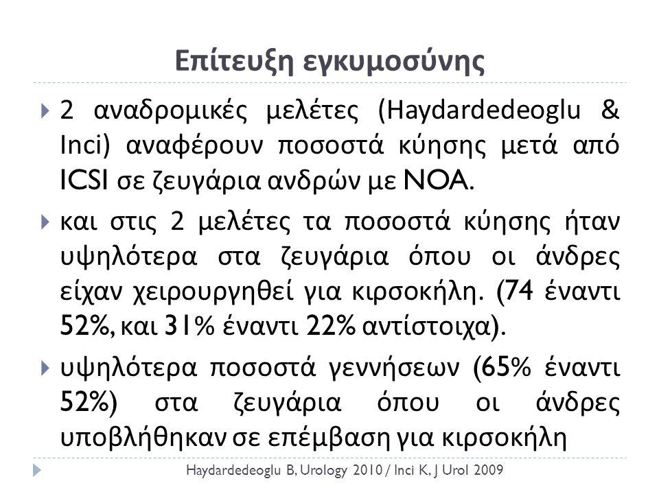 Επίτευξη εγκυμοσύνης  2 αναδρομικές μελέτες ( Haydardedeoglu & Inci ) αναφέρουν ποσοστά κύησης μετά από ICSI σε ζευγάρια ανδρών με NOA.  και στις 2