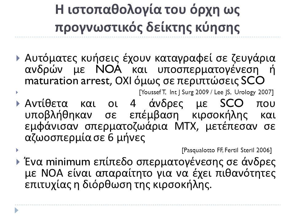 Η ιστοπαθολογία του όρχη ως προγνωστικός δείκτης κύησης  Αυτόματες κυήσεις έχουν καταγραφεί σε ζευγάρια ανδρών με NOA και υποσπερματογένεση ή maturation arrest, ΟΧΙ όμως σε περιπτώσεις SCO  [Youssef T, Int J Surg 2009 / Lee JS, Urology 2007]  Αντίθετα και οι 4 άνδρες με SCO που υποβλήθηκαν σε επέμβαση κιρσοκήλης και εμφάνισαν σπερματοζωάρια ΜΤΧ, μετέπεσαν σε αζωοσπερμία σε 6 μήνες  [Pasqualotto FF, Fertil Steril 2006]  Ένα minimum επίπεδο σπερματογένεσης σε άνδρες με ΝΟΑ είναι απαραίτητο για να έχει πιθανότητες επιτυχίας η διόρθωση της κιρσοκήλης.
