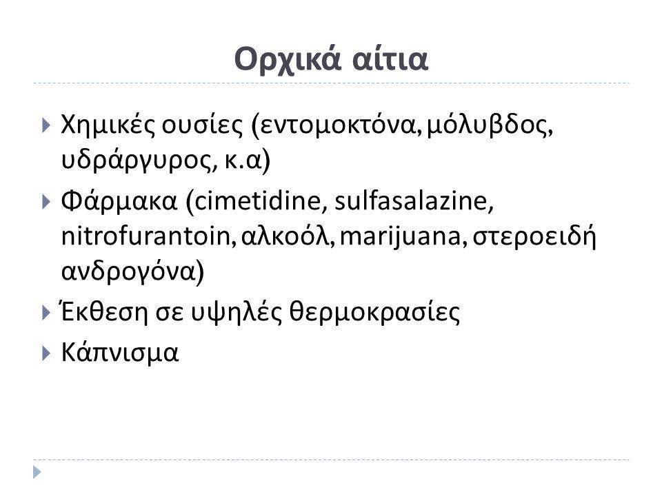 Ορχικά αίτια  Χημικές ουσίες ( εντομοκτόνα, μόλυβδος, υδράργυρος, κ. α )  Φάρμακα ( cimetidine, sulfasalazine, nitrofurantoin, αλκοόλ, marijuana, στ