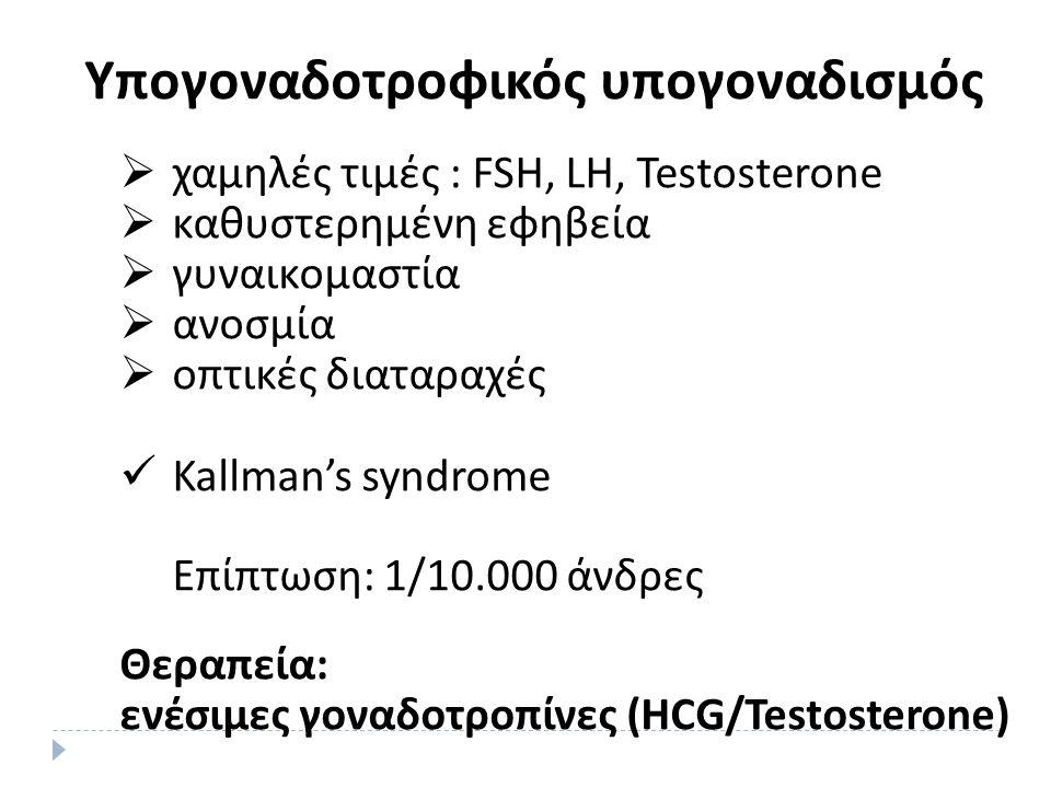 Υπογοναδοτροφικός υπογοναδισμός  χαμηλές τιμές : FSH, LH, Testosterone  καθυστερημένη εφηβεία  γυναικομαστία  ανοσμία  οπτικές διαταραχές Kallman's syndrome Επίπτωση: 1/10.000 άνδρες Θεραπεία: ενέσιμες γοναδοτροπίνες (HCG/Testosterone)