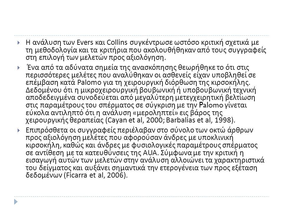  Η ανάλυση των Evers και Collins συγκέντρωσε ωστόσο κριτική σχετικά με τη μεθοδολογία και τα κριτήρια που ακολουθήθηκαν από τους συγγραφείς στη επιλογή των μελετών προς αξιολόγηση.