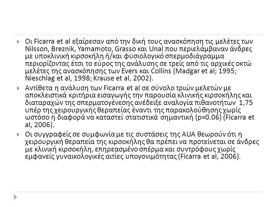  Οι Ficarra et al εξαίρεσαν από την δική τους ανασκόπηση τις μελέτες των Nilsson, Breznik, Yamamoto, Grasso και Unal που περιελάμβαναν άνδρες με υποκλινική κιρσοκήλη ή / και φυσιολογικό σπερμοδιάγραμμα περιορίζοντας έτσι το εύρος της ανάλυσης σε τρείς από τις αρχικές οκτώ μελέτες της ανασκόπησης των Evers και Collins (Madgar et al; 1995; Nieschlag et al, 1998; Krause et al, 2002).