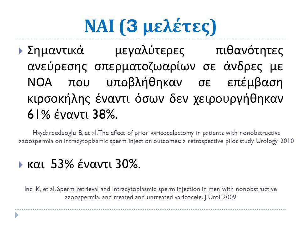 ΝΑΙ (3 μελέτες )  Σημαντικά μεγαλύτερες πιθανότητες ανεύρεσης σπερματοζωαρίων σε άνδρες με ΝΟΑ που υποβλήθηκαν σε επέμβαση κιρσοκήλης έναντι όσων δεν χειρουργήθηκαν 61% έναντι 38%.