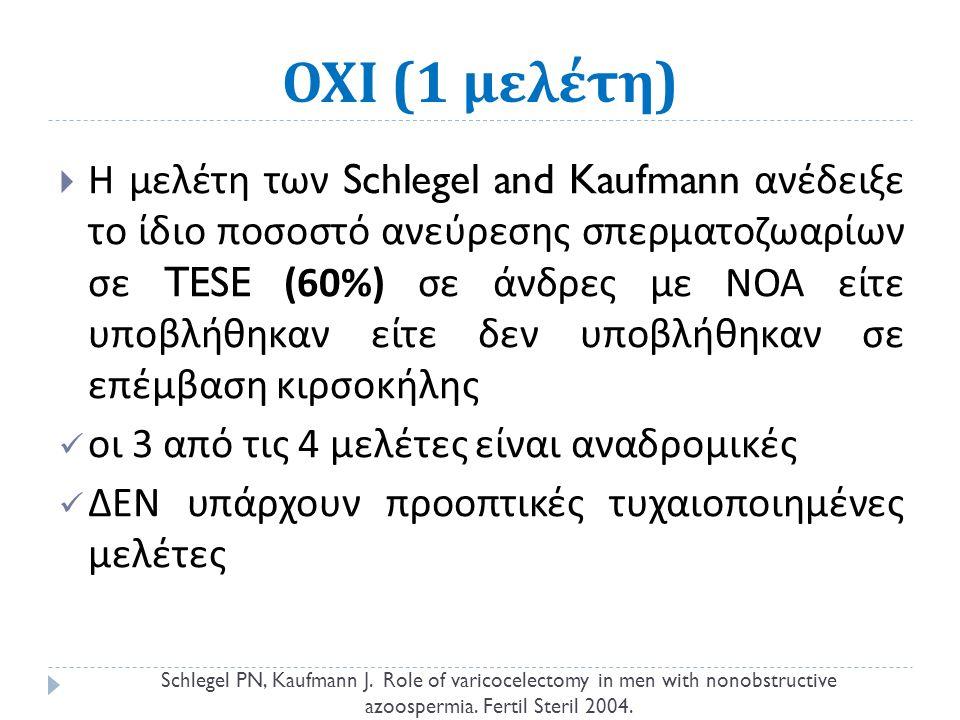 ΟΧΙ (1 μελέτη )  Η μελέτη των Schlegel and Kaufmann ανέδειξε το ίδιο ποσοστό ανεύρεσης σπερματοζωαρίων σε TESE (60%) σε άνδρες με ΝΟΑ είτε υποβλήθηκαν είτε δεν υποβλήθηκαν σε επέμβαση κιρσοκήλης οι 3 από τις 4 μελέτες είναι αναδρομικές ΔΕΝ υπάρχουν προοπτικές τυχαιοποιημένες μελέτες Schlegel PN, Kaufmann J.