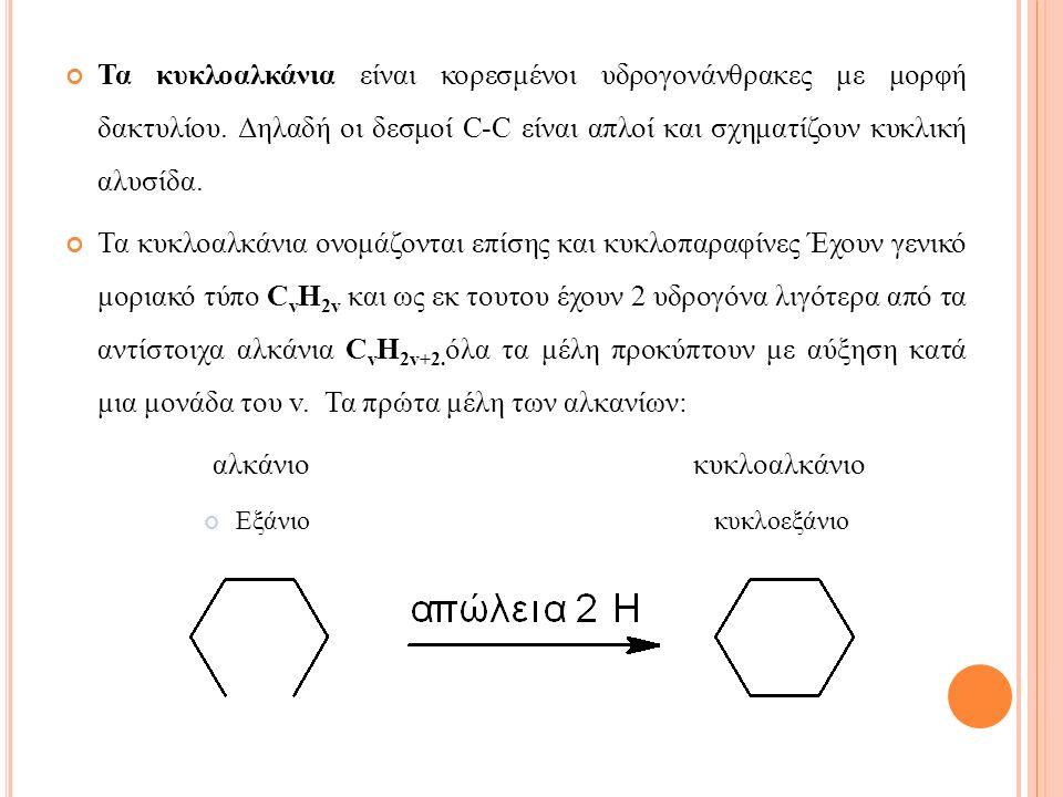 Τα κυκλοαλκάνια είναι κορεσμένοι υδρογονάνθρακες με μορφή δακτυλίου.