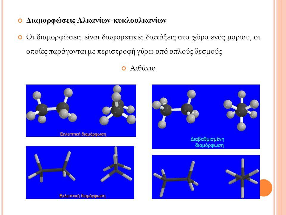 Οι διαμορφώσεις είναι διαφορετικές διατάξεις στο χώρο ενός μορίου, οι οποίες παράγονται με περιστροφή γύρω από απλούς δεσμούς Αιθάνιο