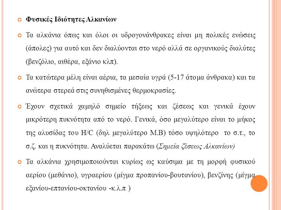 Φυσικές Ιδιότητες Αλκανίων Τα αλκάνια όπως και όλοι οι υδρογονάνθρακες είναι μη πολικές ενώσεις (άπολες) για αυτό και δεν διαλύονται στο νερό αλλά σε οργανικούς διαλύτες (βενζόλιο, αιθέρα, εξάνιο κλπ).