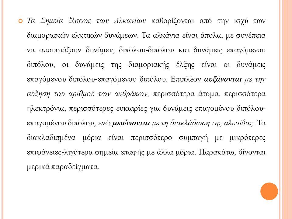 Τα Σημεία ζέσεως των Αλκανίων καθορίζονται από την ισχύ των διαμοριακών ελκτικών δυνάμεων.