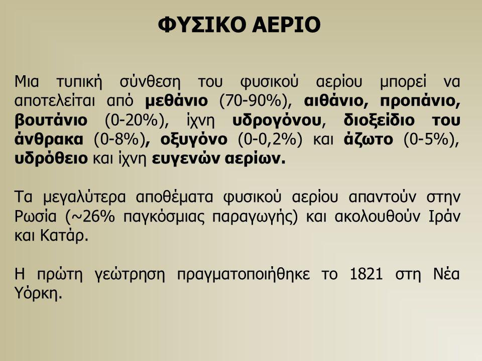 ΦΥΣΙΚΟ ΑΕΡΙΟ Μια τυπική σύνθεση του φυσικού αερίου μπορεί να αποτελείται από μεθάνιο (70-90%), αιθάνιο, προπάνιο, βουτάνιο (0-20%), ίχνη υδρογόνου, διοξείδιο του άνθρακα (0-8%), οξυγόνο (0-0,2%) και άζωτο (0-5%), υδρόθειο και ίχνη ευγενών αερίων.