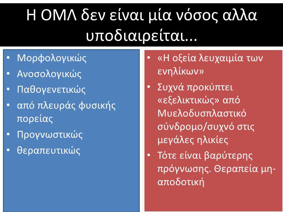 Η ΟΜΛ δεν είναι μία νόσος αλλα υποδιαιρείται...