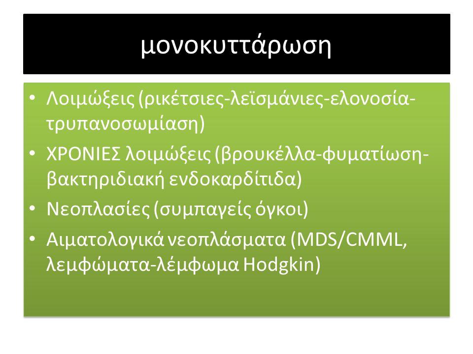 μονοκυττάρωση Λοιμώξεις (ρικέτσιες-λεϊσμάνιες-ελονοσία- τρυπανοσωμίαση) ΧΡΟΝΙΕΣ λοιμώξεις (βρουκέλλα-φυματίωση- βακτηριδιακή ενδοκαρδίτιδα) Νεοπλασίες (συμπαγείς όγκοι) Αιματολογικά νεοπλάσματα (MDS/CMML, λεμφώματα-λέμφωμα Hodgkin) Λοιμώξεις (ρικέτσιες-λεϊσμάνιες-ελονοσία- τρυπανοσωμίαση) ΧΡΟΝΙΕΣ λοιμώξεις (βρουκέλλα-φυματίωση- βακτηριδιακή ενδοκαρδίτιδα) Νεοπλασίες (συμπαγείς όγκοι) Αιματολογικά νεοπλάσματα (MDS/CMML, λεμφώματα-λέμφωμα Hodgkin)