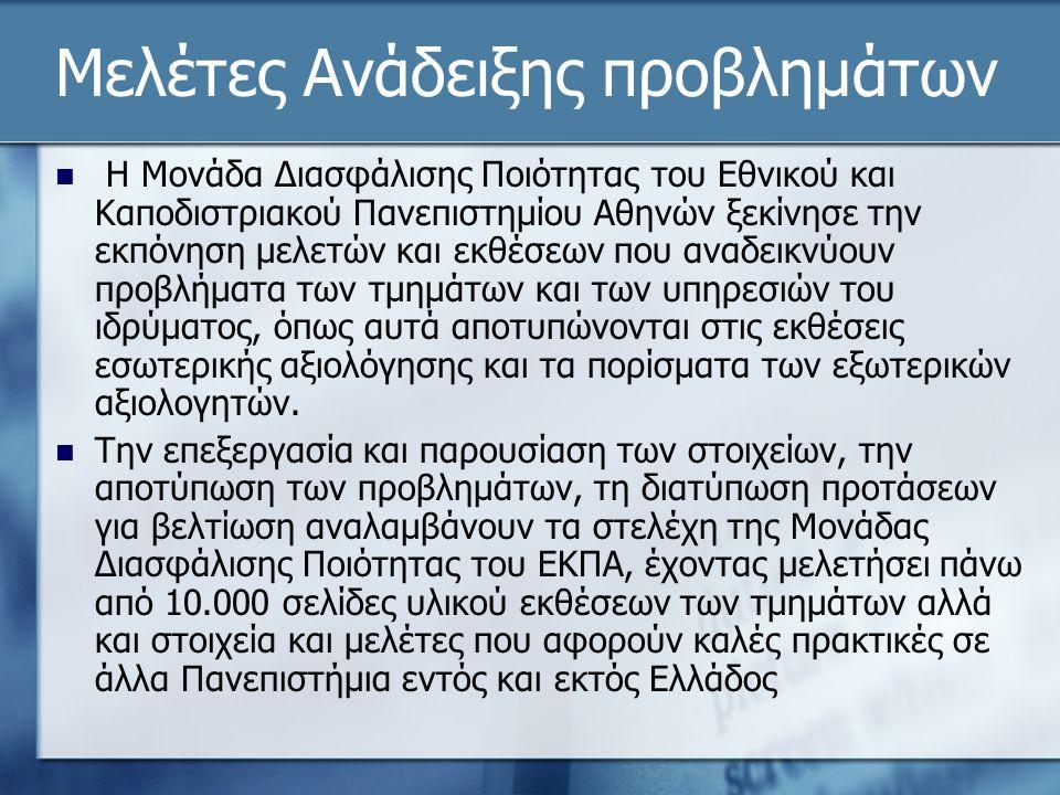 Μελέτες Ανάδειξης προβλημάτων Η Μονάδα Διασφάλισης Ποιότητας του Εθνικού και Καποδιστριακού Πανεπιστημίου Αθηνών ξεκίνησε την εκπόνηση μελετών και εκθέσεων που αναδεικνύουν προβλήματα των τμημάτων και των υπηρεσιών του ιδρύματος, όπως αυτά αποτυπώνονται στις εκθέσεις εσωτερικής αξιολόγησης και τα πορίσματα των εξωτερικών αξιολογητών.