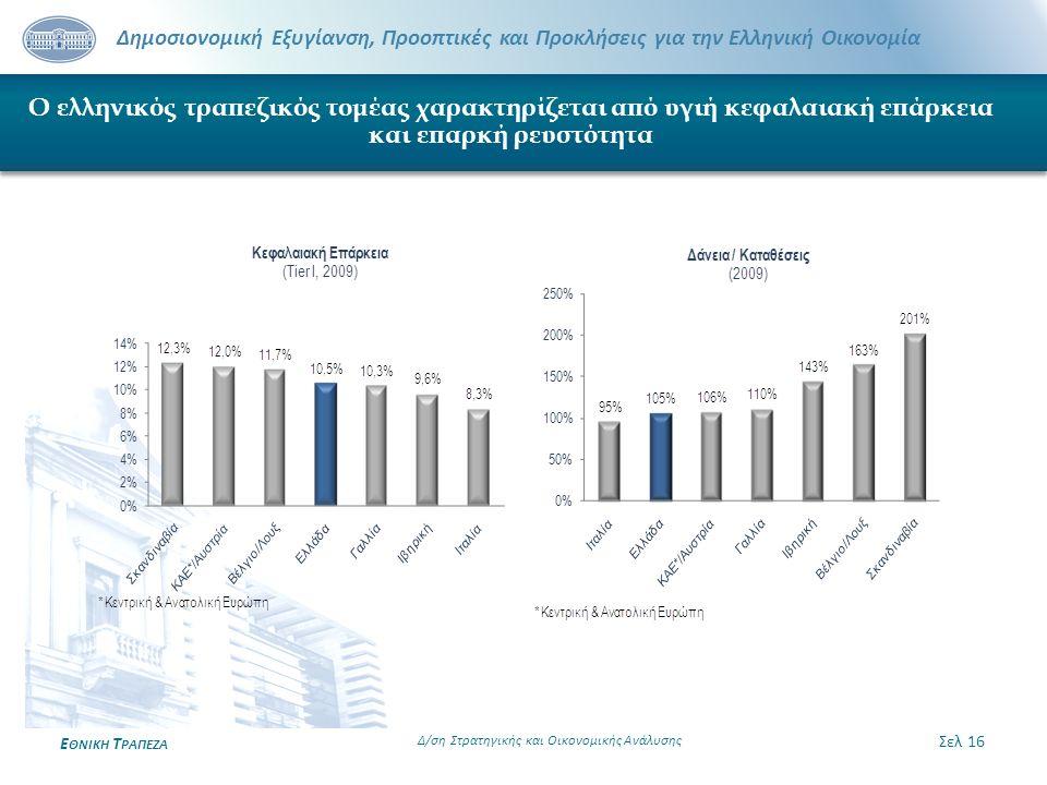 Δημοσιονομική Εξυγίανση, Προοπτικές και Προκλήσεις για την Ελληνική Οικονομία Ε ΘΝΙΚΗ Τ ΡΑΠΕΖΑ Ο ελληνικός τραπεζικός τομέας χαρακτηρίζεται από υγιή κ