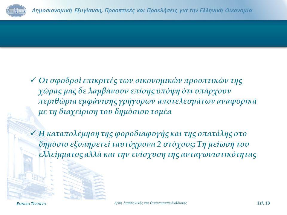 Δημοσιονομική Εξυγίανση, Προοπτικές και Προκλήσεις για την Ελληνική Οικονομία Ε ΘΝΙΚΗ Τ ΡΑΠΕΖΑ Σελ 18 Δ/ση Στρατηγικής και Οικονομικής Ανάλυσης Οι σφο