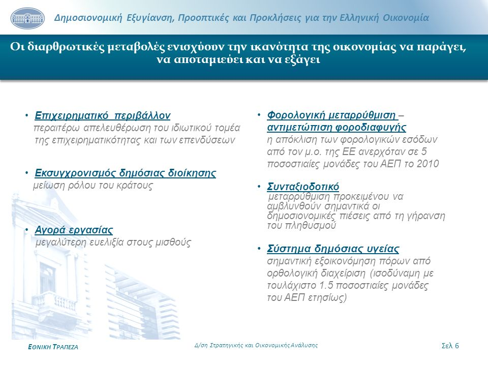 Δημοσιονομική Εξυγίανση, Προοπτικές και Προκλήσεις για την Ελληνική Οικονομία Ε ΘΝΙΚΗ Τ ΡΑΠΕΖΑ Οι διαρθρωτικές μεταβολές ενισχύουν την ικανότητα της ο