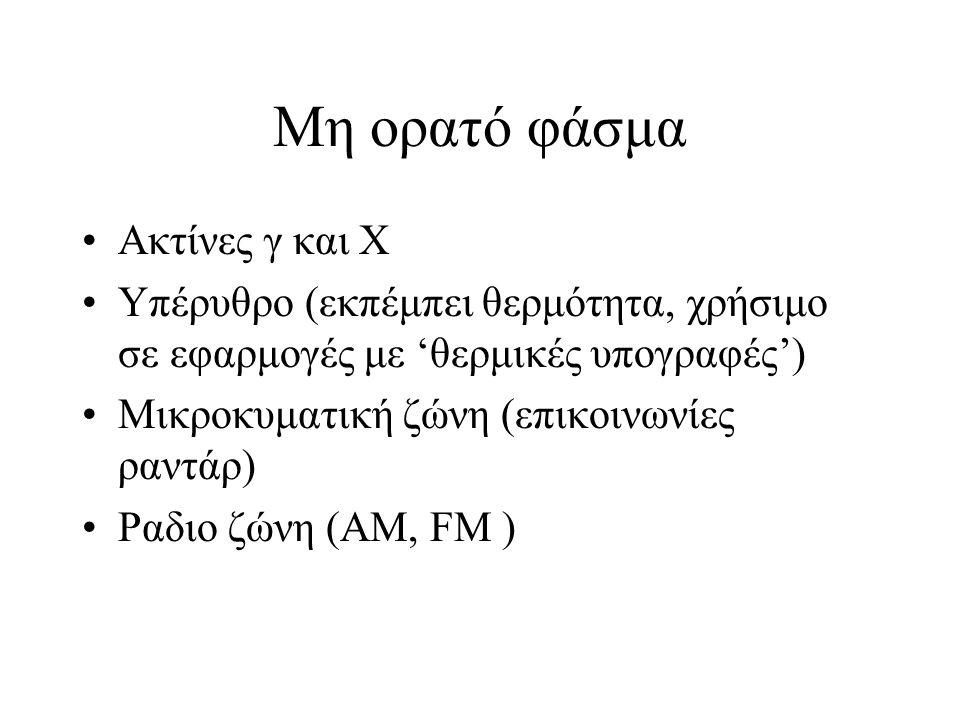 Μη ορατό φάσμα Ακτίνες γ και Χ Υπέρυθρο (εκπέμπει θερμότητα, χρήσιμο σε εφαρμογές με 'θερμικές υπογραφές') Μικροκυματική ζώνη (επικοινωνίες ραντάρ) Ραδιο ζώνη (ΑΜ, FM )