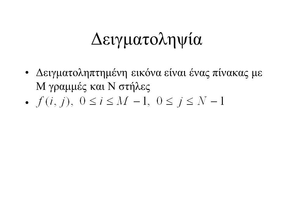Δειγματοληψία Δειγματοληπτημένη εικόνα είναι ένας πίνακας με Μ γραμμές και Ν στήλες