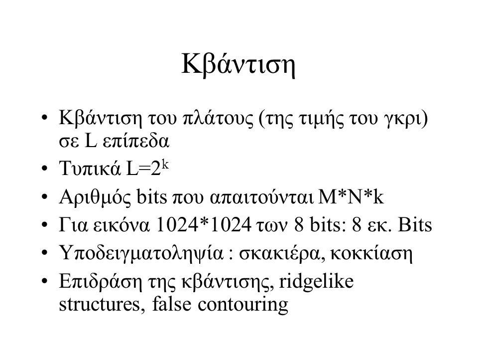 Κβάντιση Κβάντιση του πλάτους (της τιμής του γκρι) σε L επίπεδα Τυπικά L=2 k Αριθμός bits που απαιτούνται Μ*Ν*k Για εικόνα 1024*1024 των 8 bits: 8 εκ.