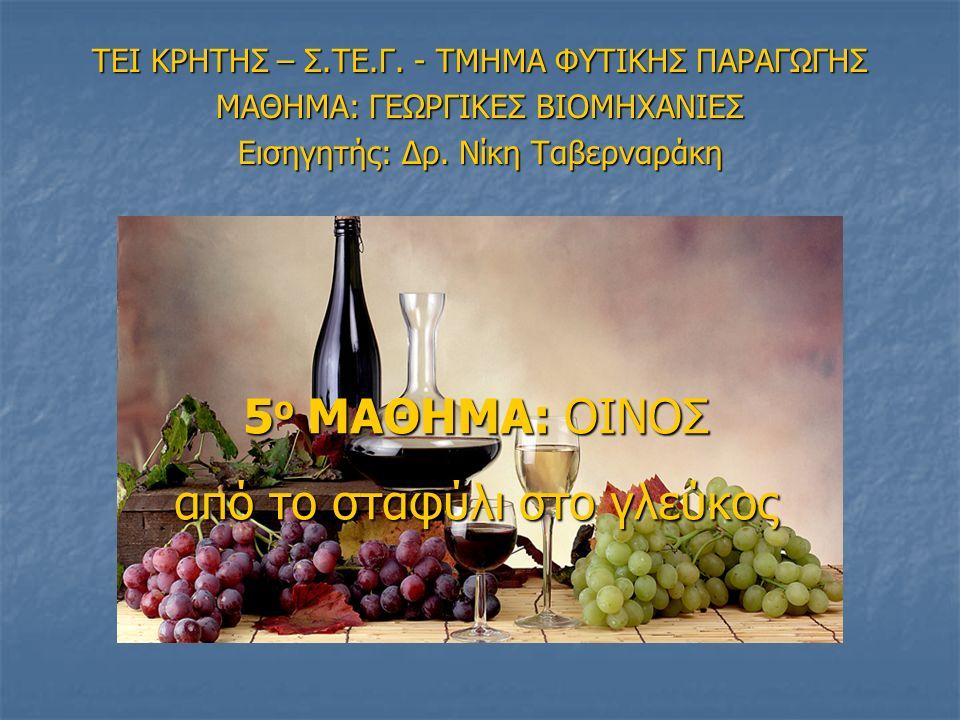 = Πολλά διαφορετικά προϊόντα από διαφορετικές ποικιλίες, τόπους, τρόπους καλλιέργειας & οινοποίησης… ΤΙ ΕΙΝΑΙ ΟΙΝΟΣ; …παράγεται αποκλειστικά με την αλκοολική ζύμωση (ολική ή μερική) νωπών σταφυλιών, σπασμένων ή όχι, ή γλεύκους σταφυλιών της Vitis vinifera… O.I.V.