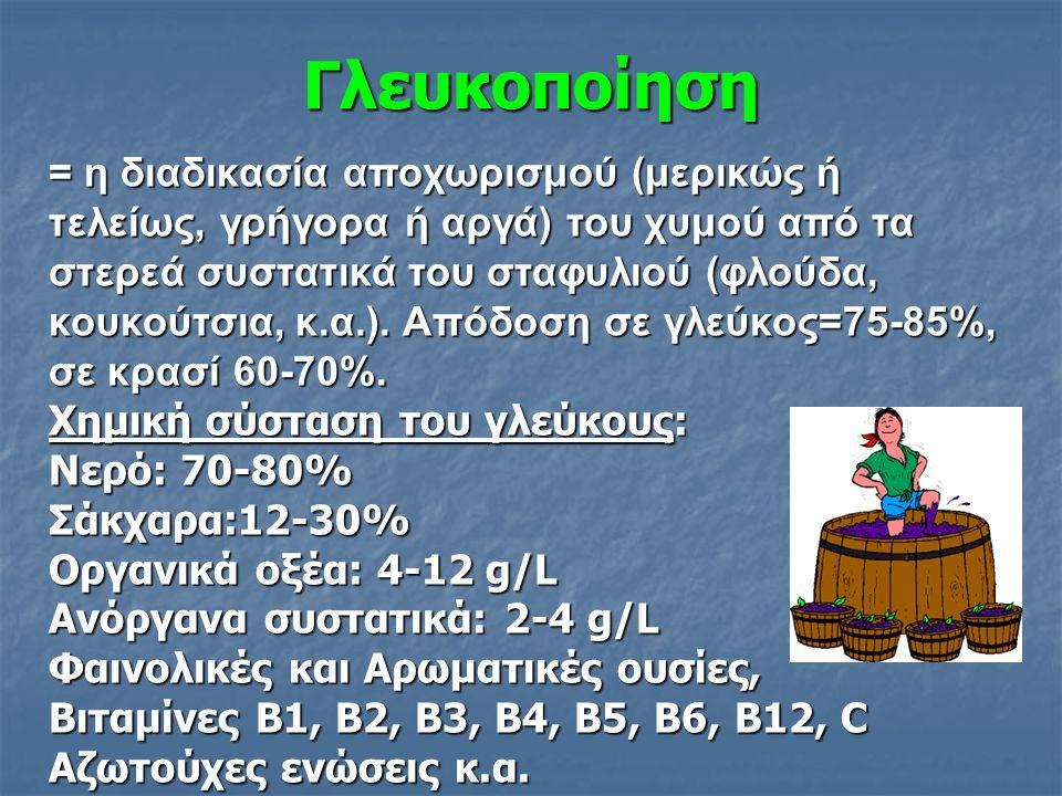 Γλευκοποίηση = η διαδικασία αποχωρισμού (μερικώς ή τελείως, γρήγορα ή αργά) του χυμού από τα στερεά συστατικά του σταφυλιού (φλούδα, κουκούτσια, κ.α.).