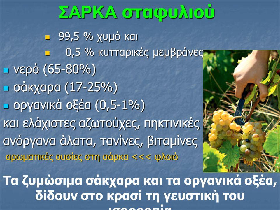 Κυρίως Τρυγικό οξύ (φτιάχνεται στα φύλλα, προερχόμενο από τα σάκχαρα), που αυξάνει περισσότερο σε νότιες θερμές περιοχές – το αμπέλι είναι το μόνο ευρωπαϊκό φυτό που συνθέτει τρυγικό Τρυγικό οξύ (φτιάχνεται στα φύλλα, προερχόμενο από τα σάκχαρα), που αυξάνει περισσότερο σε νότιες θερμές περιοχές – το αμπέλι είναι το μόνο ευρωπαϊκό φυτό που συνθέτει τρυγικό Μηλικό οξύ (φτιάχνεται στα φύλλα) και συναντάται περισσότερο σε βόρειες ψυχρές περιοχές Μηλικό οξύ (φτιάχνεται στα φύλλα) και συναντάται περισσότερο σε βόρειες ψυχρές περιοχές πολύ λίγο Κιτρικό οξύ (φτιάχνεται στις ρίζες) πολύ λίγο Κιτρικό οξύ (φτιάχνεται στις ρίζες) Στον περκασμό, η οξύτητα είναι στο δικό της μέγιστο, ενώ μετά μειώνεται λόγω: Πολύ μεγάλης αύξησης του όγκου των ραγών Πολύ μεγάλης αύξησης του όγκου των ραγών Ουδετεροποίησης των οξέων με ανόργανα άλατα Ουδετεροποίησης των οξέων με ανόργανα άλατα Χρήσης τους για ανάγκες ενέργειας (αναπνοή) Μηλικό στους 25°C και Τρυγικό στους 35 °C Χρήσης τους για ανάγκες ενέργειας (αναπνοή) Μηλικό στους 25°C και Τρυγικό στους 35 °C ΟΡΓΑΝΙΚΑ ΟΞΕΑ