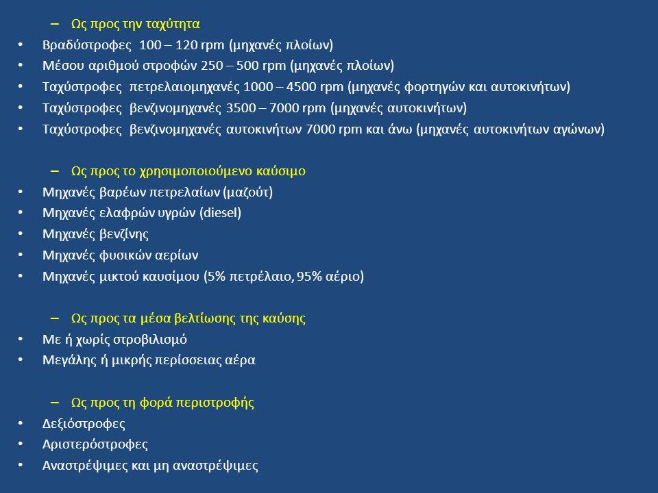 – Ως προς την ταχύτητα Βραδύστροφες 100 – 120 rpm (μηχανές πλοίων) Μέσου αριθμού στροφών 250 – 500 rpm (μηχανές πλοίων) Ταχύστροφες πετρελαιομηχανές 1