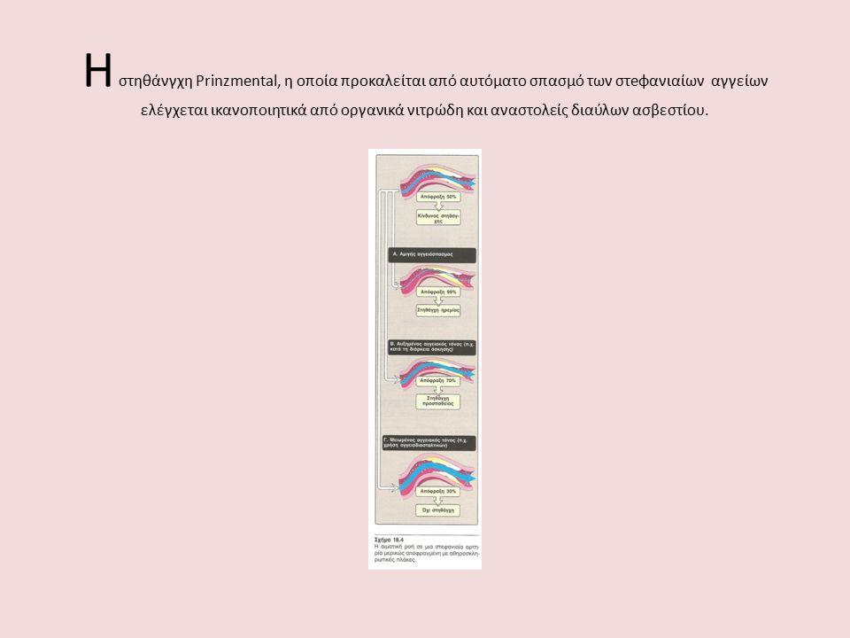 Η στηθάνγχη Prinzmental, η οποία προκαλείται από αυτόματο σπασμό των στeφανιαίων αγγείων ελέγχεται ικανοποιητικά από οργανικά νιτρώδη και αναστολείς δ