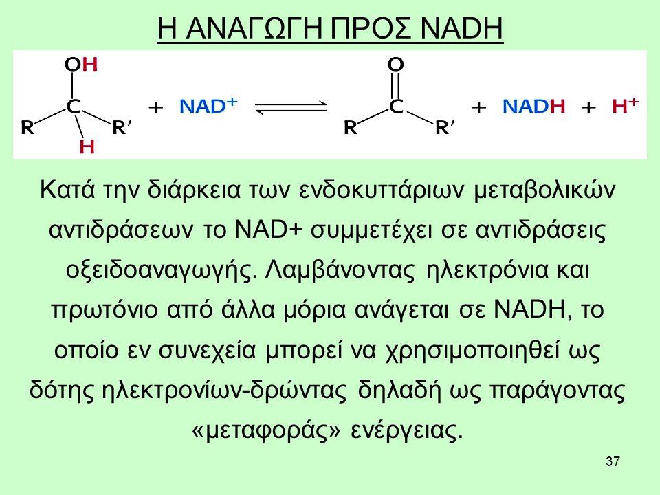 37 Η ΑΝΑΓΩΓΗ ΠΡΟΣ NADH Κατά την διάρκεια των ενδοκυττάριων μεταβολικών αντιδράσεων το NAD+ συμμετέχει σε αντιδράσεις οξειδοαναγωγής. Λαμβάνοντας ηλεκτ