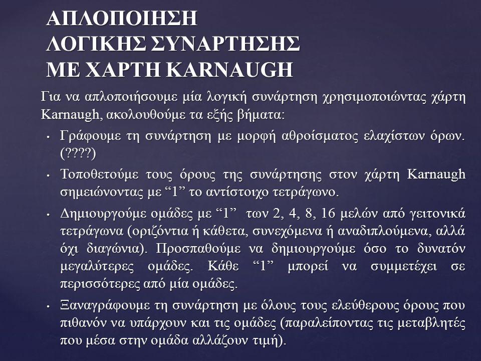 ΑΠΛΟΠΟΙΗΣH ΛΟΓΙΚΗΣ ΣΥΝΑΡΤΗΣΗΣ ΜΕ ΧΑΡΤΗ KARNAUGH Για να απλοποιήσουμε μία λογική συνάρτηση χρησιμοποιώντας χάρτη Karnaugh, ακολουθούμε τα εξής βήματα: