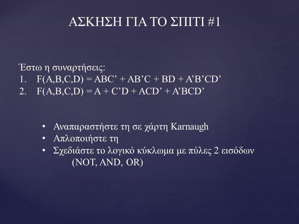 ΑΣΚΗΣΗ ΓΙΑ ΤΟ ΣΠΙΤΙ #1 Έστω η συναρτήσεις: 1. F(A,B,C,D) = ABC' + AB'C + BD + A'B'CD' 2. F(A,B,C,D) = A + C'D + ACD' + A'BCD' Αναπαραστήστε τη σε χάρτ