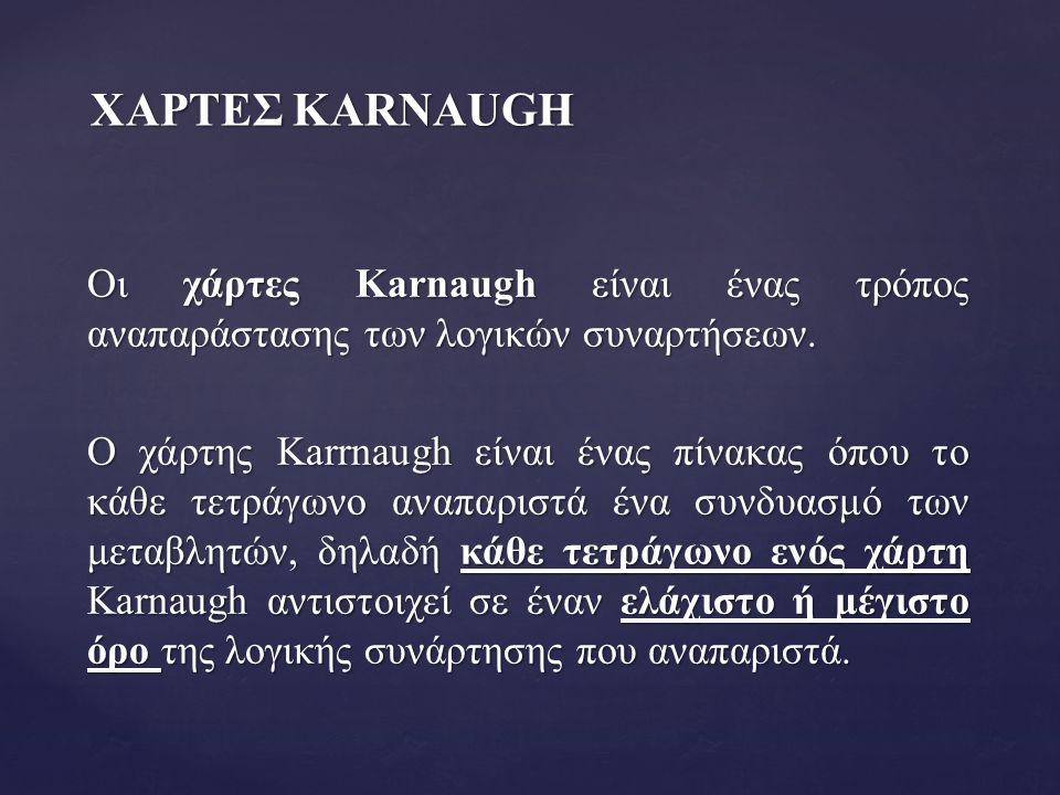 ΧΑΡΤΕΣ KARNAUGH Οι χάρτες Karnaugh είναι ένας τρόπος αναπαράστασης των λογικών συναρτήσεων. Ο χάρτης Karrnaugh είναι ένας πίνακας όπου το κάθε τετράγω