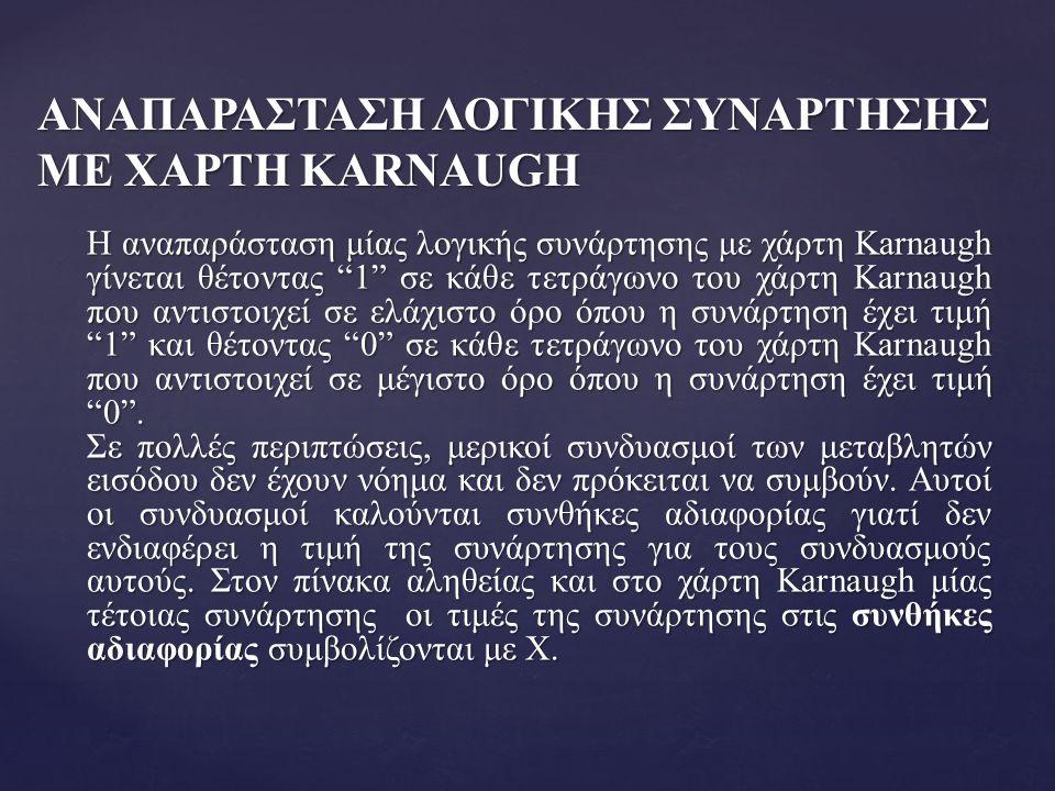 """ΑΝΑΠΑΡΑΣΤΑΣΗ ΛΟΓΙΚΗΣ ΣΥΝΑΡΤΗΣΗΣ ΜΕ ΧΑΡΤΗ KARNAUGH Η αναπαράσταση μίας λογικής συνάρτησης με χάρτη Karnaugh γίνεται θέτοντας """"1"""" σε κάθε τετράγωνο του"""