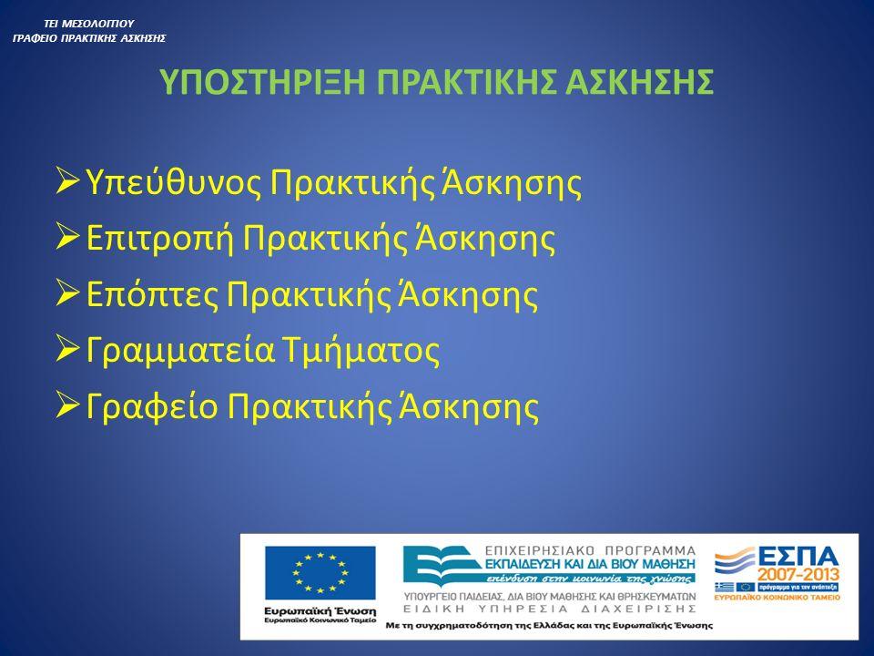 ΑΠΟΖΗΜΙΩΣΗ ΦΟΙΤΗΤΩΝ  Δημόσιος Τομέας: 500 Ευρώ  Ιδιωτικός Τομέας: 320-340 Ευρώ ΤΕΙ ΜΕΣΟΛΟΓΓΙΟΥ ΓΡΑΦΕΙΟ ΠΡΑΚΤΙΚΗΣ ΑΣΚΗΣΗΣ