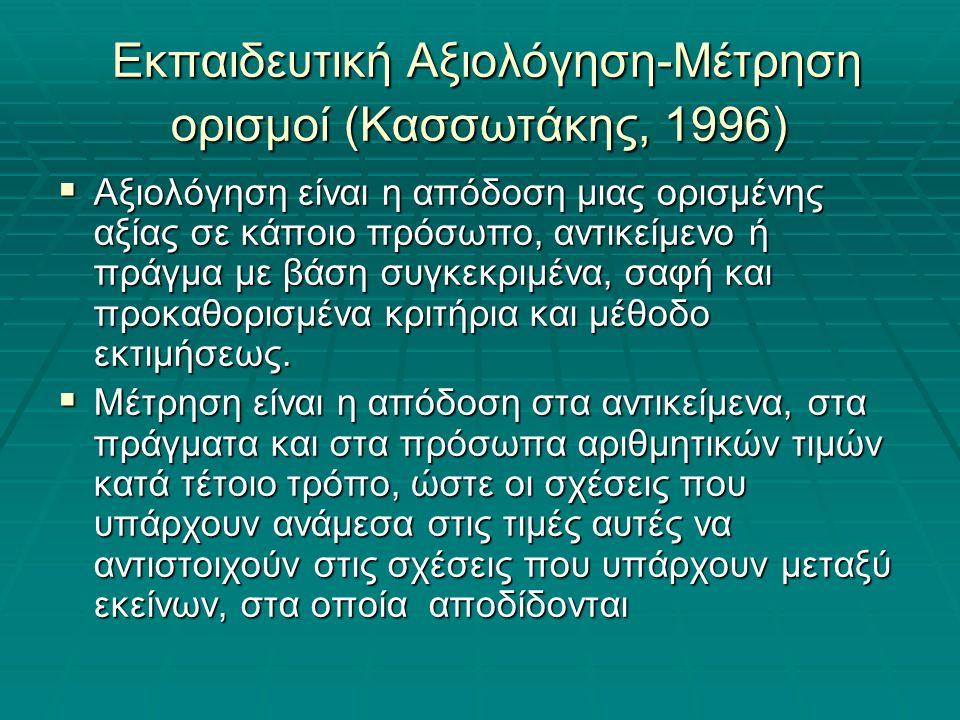 Εκπαιδευτική Αξιολόγηση-Μέτρηση ορισμοί (Κασσωτάκης, 1996) Εκπαιδευτική Αξιολόγηση-Μέτρηση ορισμοί (Κασσωτάκης, 1996)  Αξιολόγηση είναι η απόδοση μιας ορισμένης αξίας σε κάποιο πρόσωπο, αντικείμενο ή πράγμα με βάση συγκεκριμένα, σαφή και προκαθορισμένα κριτήρια και μέθοδο εκτιμήσεως.