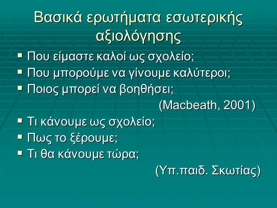 Βασικά ερωτήματα εσωτερικής αξιολόγησης  Που είμαστε καλοί ως σχολείο;  Που μπορούμε να γίνουμε καλύτεροι;  Ποιος μπορεί να βοηθήσει; (Macbeath, 2001) (Macbeath, 2001)  Τι κάνουμε ως σχολείο;  Πως το ξέρουμε;  Τι θα κάνουμε τώρα; (Υπ.παιδ.