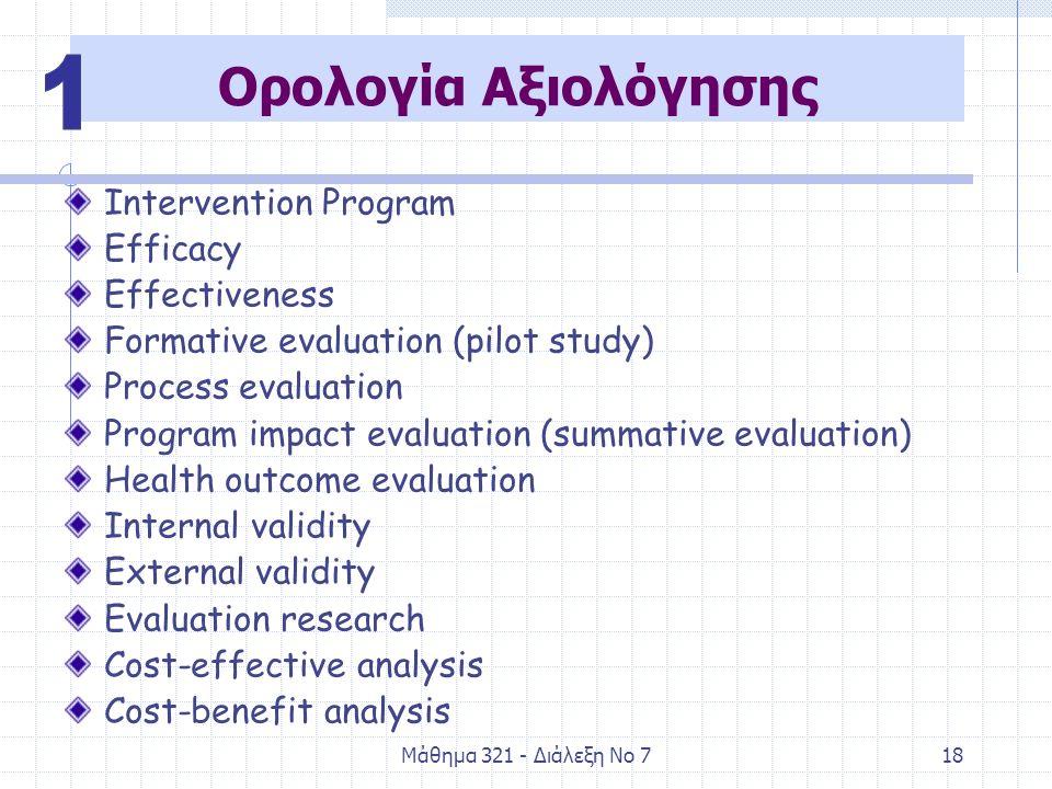 Μάθημα 321 - Διάλεξη Νο 718 Ορολογία Αξιολόγησης Intervention Program Efficacy Effectiveness Formative evaluation (pilot study) Process evaluation Pro