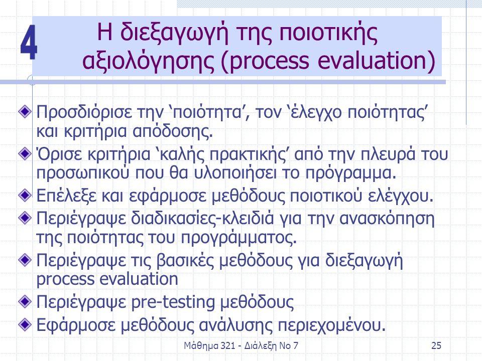 Μάθημα 321 - Διάλεξη Νο 725 Η διεξαγωγή της ποιοτικής αξιολόγησης (process evaluation) Προσδιόρισε την 'ποιότητα', τον 'έλεγχο ποιότητας' και κριτήρια απόδοσης.