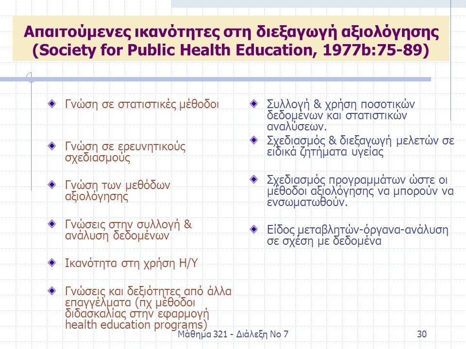 Μάθημα 321 - Διάλεξη Νο 730 Απαιτούμενες ικανότητες στη διεξαγωγή αξιολόγησης (Society for Public Health Education, 1977b:75-89) Γνώση σε στατιστικές μέθοδοι Γνώση σε ερευνητικούς σχεδιασμούς Γνώση των μεθόδων αξιολόγησης Γνώσεις στην συλλογή & ανάλυση δεδομένων Ικανότητα στη χρήση Η/Υ Γνώσεις και δεξιότητες από άλλα επαγγέλματα (πχ μέθοδοι διδασκαλίας στην εφαρμογή health education programs) Συλλογή & χρήση ποσοτικών δεδομένων και στατιστικών αναλύσεων.