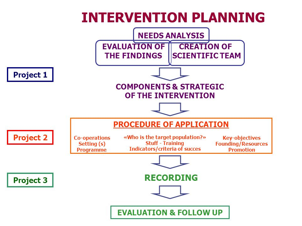 INTERVENTION PLANNING Project 1 Project 2 Project 3 EVALUATION OF THE FINDINGS CREATION OF SCIENTIFIC TEAM COMPONENTS & STRATEGIC OF THE INTERVENTION «Who is the target population » Stuff - Training Indicators/criteria of succes Co-operations Setting (s) Programme Key-objectives Founding/Resources Promotion PROCEDURE OF APPLICATION EVALUATION & FOLLOW UP RECORDING NEEDS ANALYSIS
