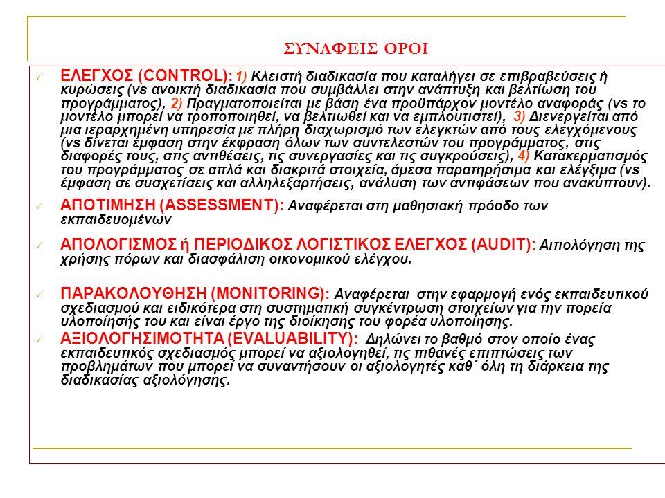 ΣΥΝΑΦΕΙΣ ΟΡΟΙ  ΕΛΕΓΧΟΣ (CONTROL): 1) Κλειστή διαδικασία που καταλήγει σε επιβραβεύσεις ή κυρώσεις (vs ανοικτή διαδικασία που συμβάλλει στην ανάπτυξη και βελτίωση του προγράμματος), 2) Πραγματοποιείται με βάση ένα προϋπάρχον μοντέλο αναφοράς (vs το μοντέλο μπορεί να τροποποιηθεί, να βελτιωθεί και να εμπλουτιστεί), 3) Διενεργείται από μια ιεραρχημένη υπηρεσία με πλήρη διαχωρισμό των ελεγκτών από τους ελεγχόμενους (vs δίνεται έμφαση στην έκφραση όλων των συντελεστών του προγράμματος, στις διαφορές τους, στις αντιθέσεις, τις συνεργασίες και τις συγκρούσεις), 4) Κατακερματισμός του προγράμματος σε απλά και διακριτά στοιχεία, άμεσα παρατηρήσιμα και ελέγξιμα (vs έμφαση σε συσχετίσεις και αλληλεξαρτήσεις, ανάλυση των αντιφάσεων που ανακύπτουν).