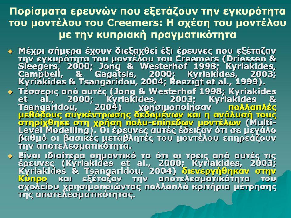 Πορίσματα ερευνών που εξετάζουν την εγκυρότητα του μοντέλου του Creemers: Η σχέση του μοντέλου με την κυπριακή πραγματικότητα  Μέχρι σήμερα έχουν διεξαχθεί έξι έρευνες που εξέταζαν την εγκυρότητα του μοντέλου του Creemers (Driessen & Sleegers, 2000; Jong & Westerhof 1998; Kyriakides, Campbell, & Gagatsis, 2000; Kyriakides, 2003; Kyriakides & Tsangaridou, 2004; Reezigt et al., 1999).
