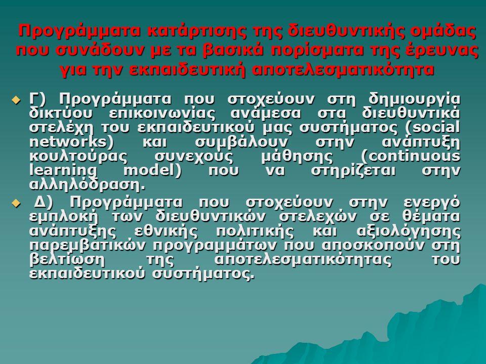 Προγράμματα κατάρτισης της διευθυντικής ομάδας που συνάδουν με τα βασικά πορίσματα της έρευνας για την εκπαιδευτική αποτελεσματικότητα  Γ) Προγράμματα που στοχεύουν στη δημιουργία δικτύου επικοινωνίας ανάμεσα στα διευθυντικά στελέχη του εκπαιδευτικού μας συστήματος (social networks) και συμβάλουν στην ανάπτυξη κουλτούρας συνεχούς μάθησης (continuous learning model) που να στηρίζεται στην αλληλόδραση.
