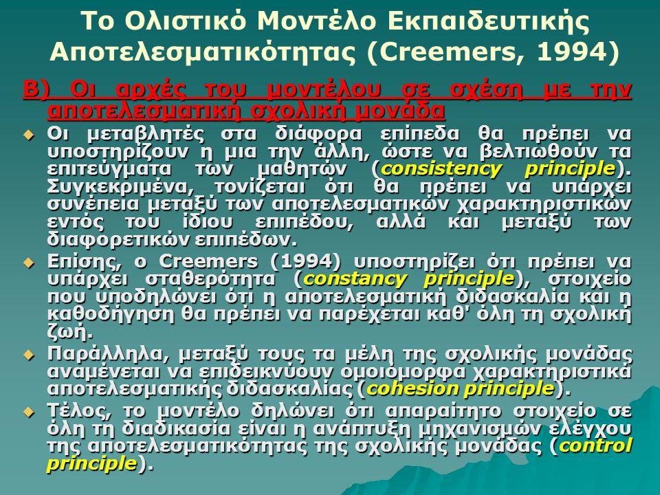 Το Ολιστικό Μοντέλο Εκπαιδευτικής Αποτελεσματικότητας (Creemers, 1994) Β) Οι αρχές του μοντέλου σε σχέση με την αποτελεσματική σχολική μονάδα  Οι μεταβλητές στα διάφορα επίπεδα θα πρέπει να υποστηρίζουν η μια την άλλη, ώστε να βελτιωθούν τα επιτεύγματα των μαθητών (consistency principle).