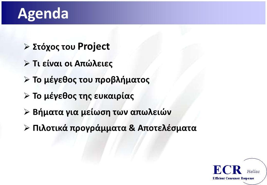 Agenda  Στόχος του Project  Τι είναι οι Απώλειες  Το μέγεθος του προβλήματος  Το μέγεθος της ευκαιρίας  Βήματα για μείωση των απωλειών  Πιλοτικά προγράμματα & Αποτελέσματα
