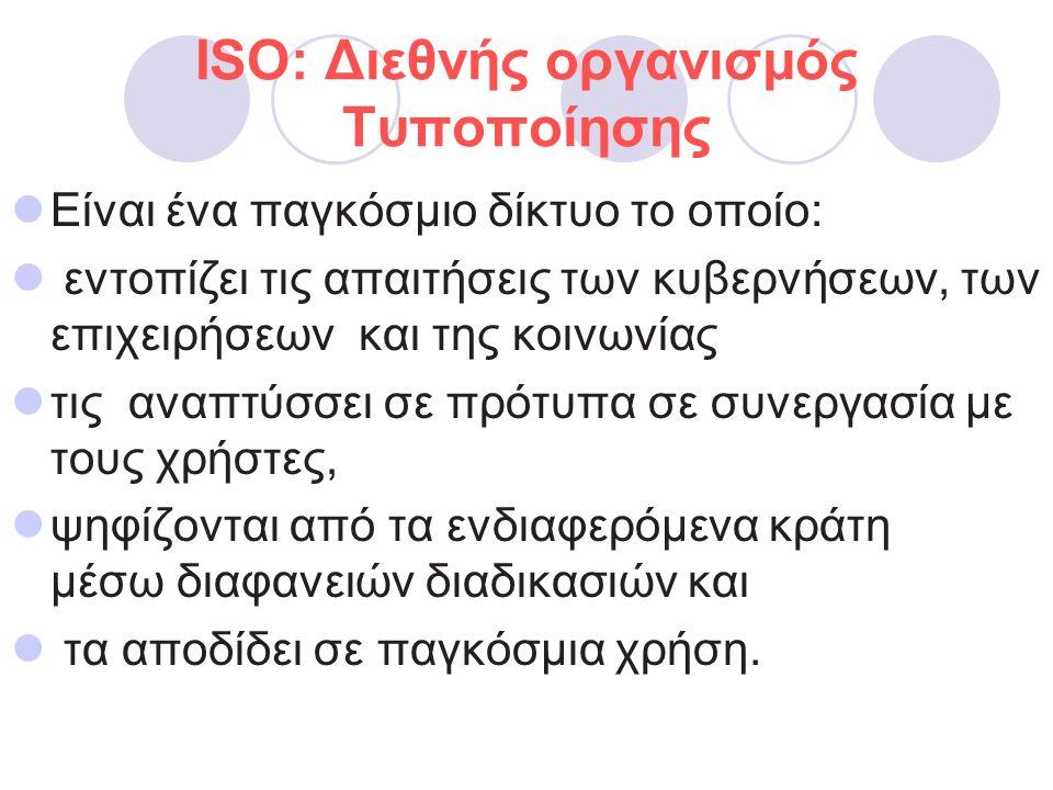 ISO: Διεθνής οργανισμός Τυποποίησης Eίναι ένα παγκόσμιο δίκτυο το οποίο: εντοπίζει τις απαιτήσεις των κυβερνήσεων, των επιχειρήσεων και της κοινωνίας τις αναπτύσσει σε πρότυπα σε συνεργασία με τους χρήστες, ψηφίζονται από τα ενδιαφερόμενα κράτη μέσω διαφανειών διαδικασιών και τα αποδίδει σε παγκόσμια χρήση.